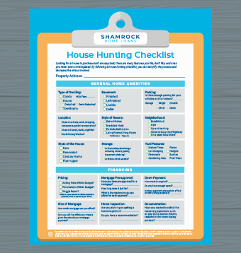 A picture of our house hunting checklist on a wood background